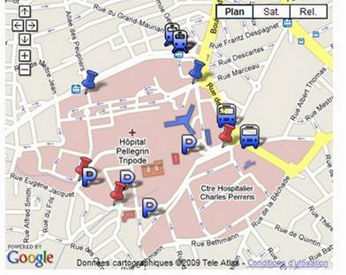 plan du CHU et de Bordeaux 2